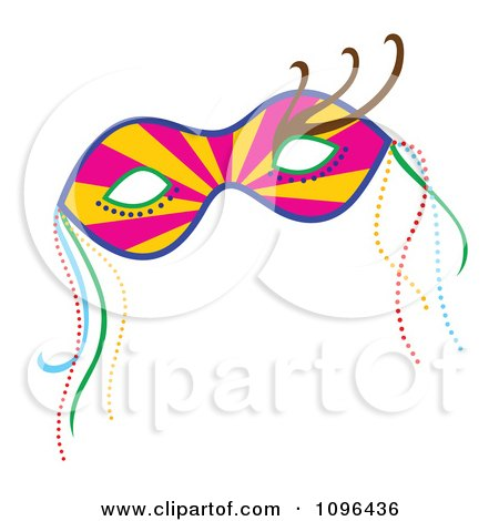 Clipart Ray Mardi Gras Face Mask With Beads - Royalty Free Vector Illustration by Cherie Reve