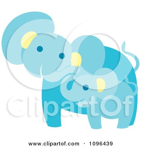 Clipart Happy Blue Elephant Mother And Baby - Royalty Free Vector Illustration by Cherie Reve