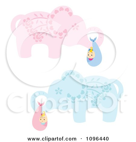 Clipart Blue And Pink Floral Elephants Carrying Babies In Bundles - Royalty Free Vector Illustration by Cherie Reve