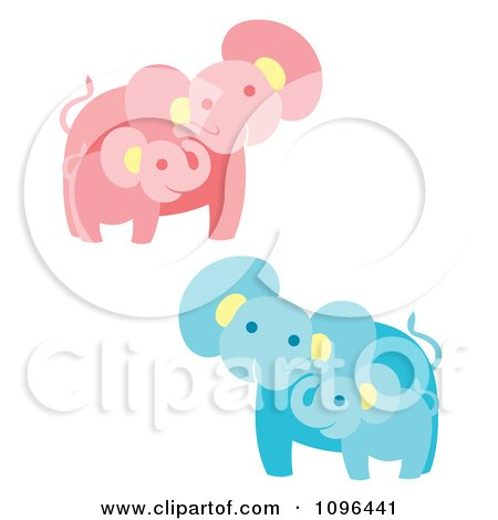 Clipart Happy Pink And Blue Elephant Mothers And Babies - Royalty Free Vector Illustration by Cherie Reve