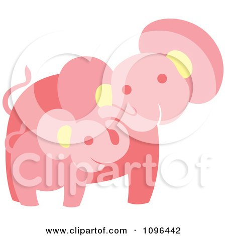 Clipart Happy Pink Elephant Mother And Baby - Royalty Free Vector Illustration by Cherie Reve