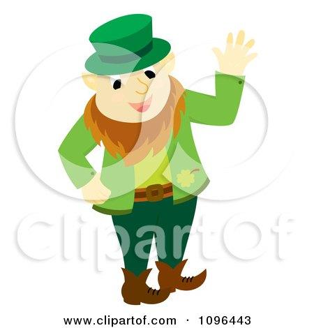 Clipart Happy St Patricks Day Leprechaun Waving - Royalty Free Vector Illustration by Cherie Reve