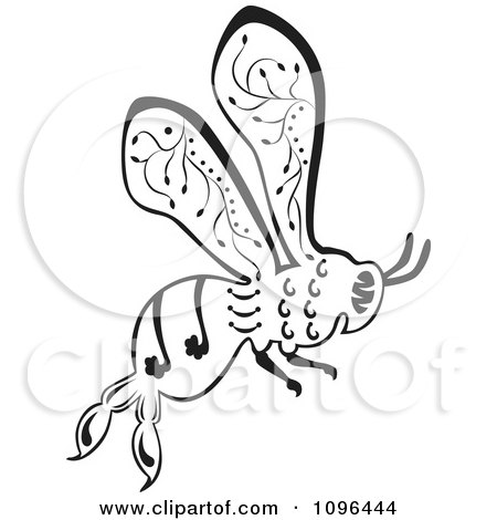 Clipart Ornate Black And White Bee In Flight - Royalty Free Vector Illustration by Cherie Reve