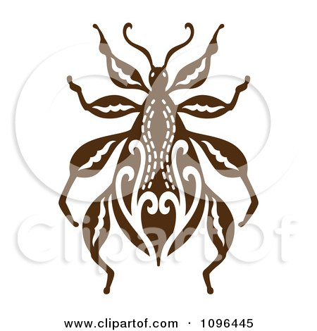 Clipart Ornate Brown Beetle - Royalty Free Vector Illustration by Cherie Reve