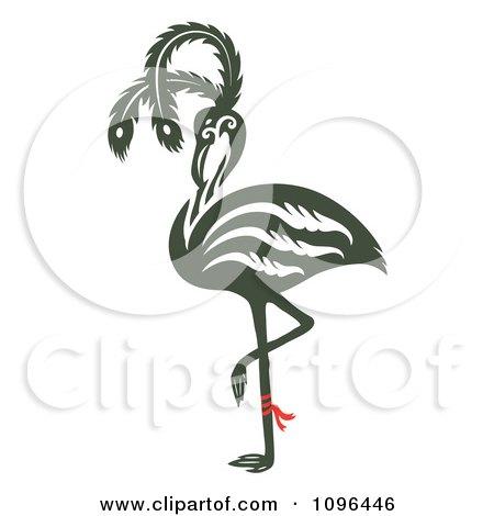 Clipart Ornate Flamingo Balanced On One Leg - Royalty Free Vector Illustration by Cherie Reve