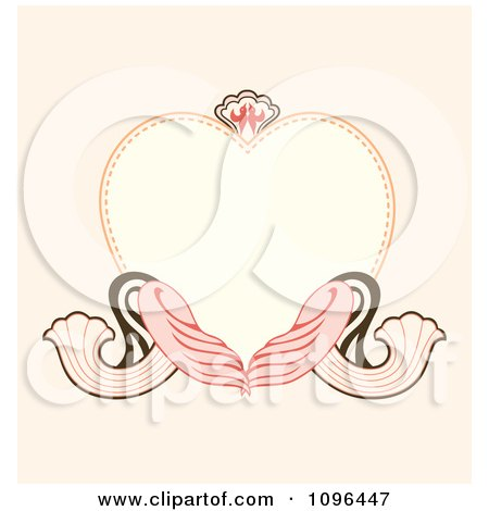 Clipart Heart Frame With Ornate Swirls On Pastel Pink - Royalty Free Vector Illustration by Cherie Reve