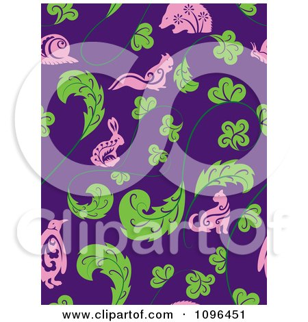 Clipart Seamless Animal And Leaf Background Pattern - Royalty Free Vector Illustration by Cherie Reve
