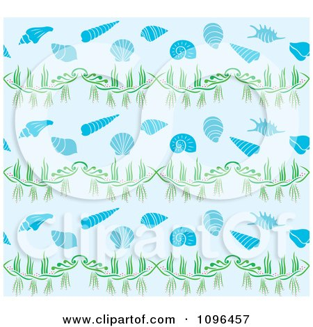 Clipart Seamless Sea Shell Background Pattern - Royalty Free Vector Illustration by Cherie Reve