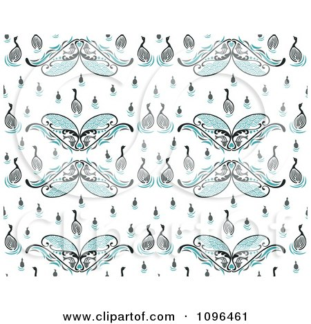 Clipart Seamless Swan Background Pattern - Royalty Free Vector Illustration by Cherie Reve