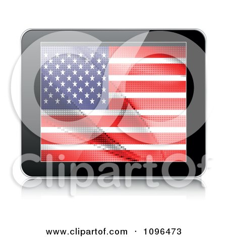 Clipart 3d Tablet Computer With An American Flag On The Screen - Royalty Free Vector Illustration by Andrei Marincas