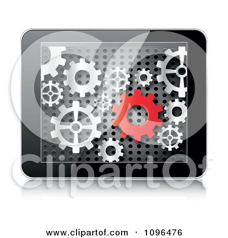 Clipart 3d Tablet Computer With Red And Silver Gears On The Screen - Royalty Free Vector Illustration by Andrei Marincas