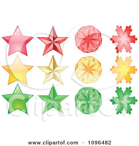 Clipart Red Yellow And Green Stars And Snowflakes - Royalty Free Vector Illustration by Andrei Marincas