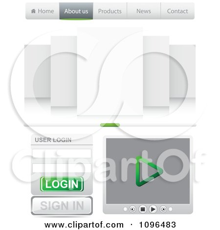 Clipart Professional Green And Gray Website Design Tabs Login And Media Player - Royalty Free Vector Illustration by Andrei Marincas