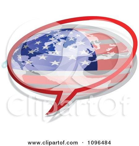 Clipart American Flag Chat Bubble - Royalty Free Vector Illustration by Andrei Marincas