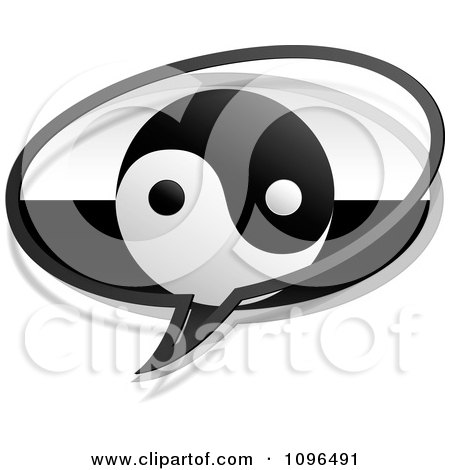 Clipart Yin Yang Chat Bubble - Royalty Free Vector Illustration by Andrei Marincas