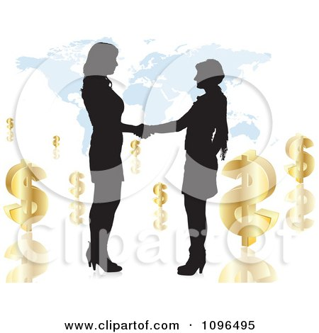 Two Silhouetted Business Women Shaking Hands Over A Map With Dollar Symbols Posters, Art Prints