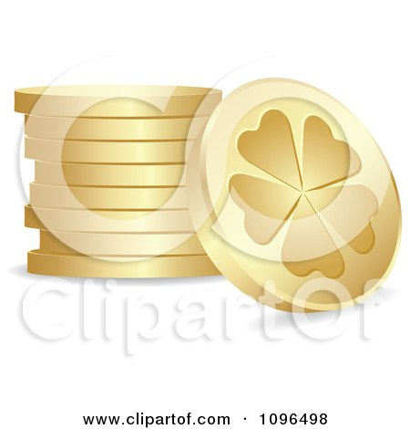 Clipart 3d Golden St Patricks Day Lucky Clover Coins - Royalty Free Vector Illustration by Andrei Marincas