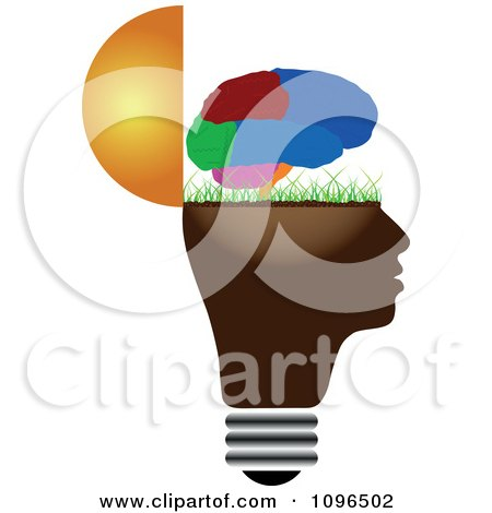 Clipart Colorful Brain Over A Grassy Open Light Bulb Head - Royalty Free Vector Illustration by Andrei Marincas