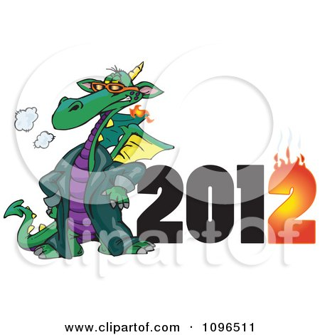 Clipart Green Fire Breathing Dragon Wearing A Coat And Standing By A Flaming Year 2012 - Royalty Free Vector Illustration by Dennis Holmes Designs