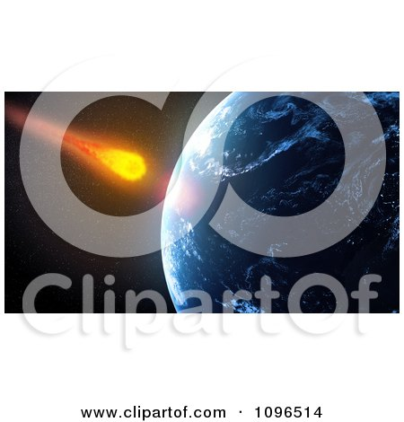 Clipart 3d Asteroid Falling Towards Planet Earth - Royalty Free CGI Illustration by Mopic
