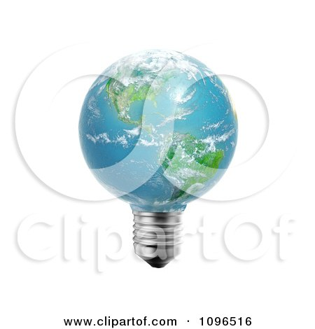 Clipart 3d American Light Bulb Globe - Royalty Free CGI Illustration by Mopic