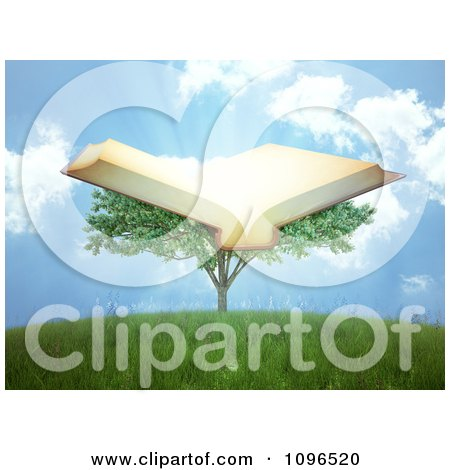 Clipart 3d Tree Of Knowledge With An Open Book And Rays - Royalty Free CGI Illustration by Mopic