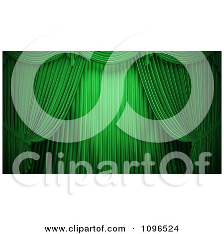 Clipart 3d Closed Green Theater Curtains - Royalty Free CGI Illustration by Mopic