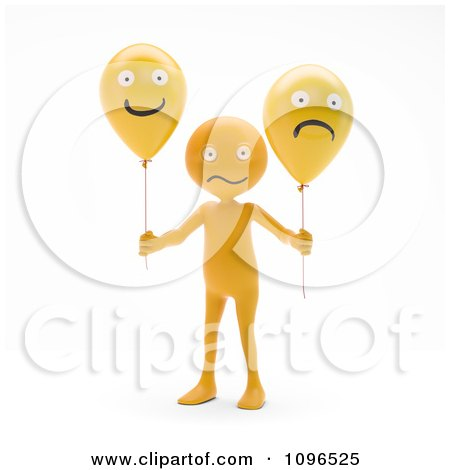 Clipart 3d Orange Man Holding Happy And Sad Balloons - Royalty Free CGI Illustration by Mopic