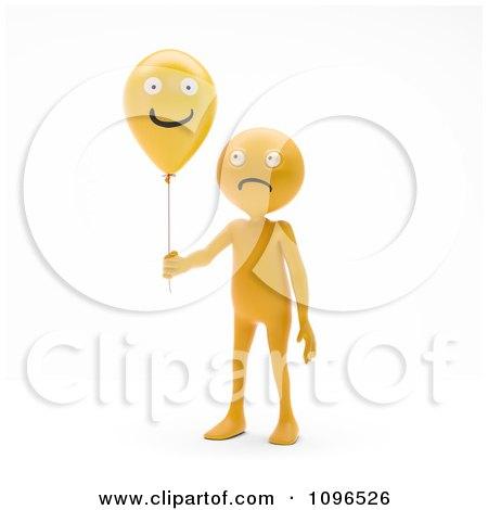 Clipart 3d Sad Orange Man Holding A Happy Balloo - Royalty Free CGI Illustration by Mopic
