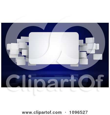 Clipart 3d White Rectangle Banners Floating Around A Large Sign - Royalty Free CGI Illustration by Mopic