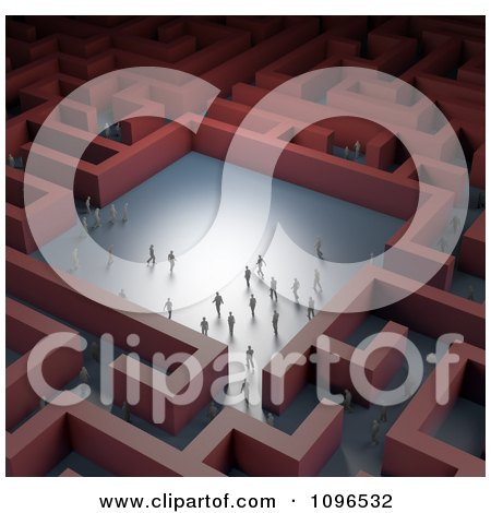 Clipart 3d Tiny Business People In A Red Maze - Royalty Free CGI Illustration by Mopic