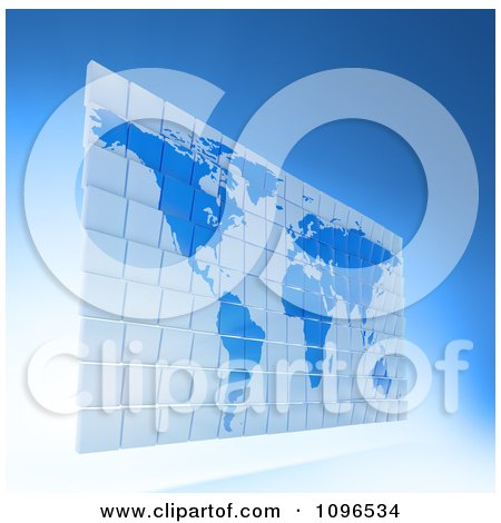 Clipart 3d Blue Word Atlas Map Made Of Tiles - Royalty Free CGI Illustration by Mopic