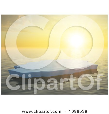 3d Lone Ice Floe Floating On The Ocean Against An Orange Sunset On The Horizon Posters, Art Prints