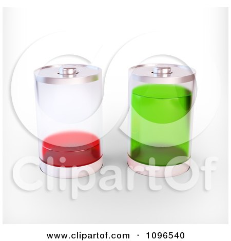 Clipart 3d Fully Charged And Empty Batteries With Clear Exteriors - Royalty Free CGI Illustration by Mopic