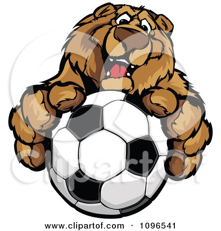 Clipart Friendly Bear Mascot Holding Out A Soccer Ball - Royalty Free Vector Illustration by Chromaco