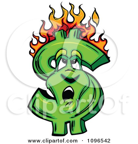 Clipart Burning Dollar Symbol Looking Up At The Flames - Royalty Free Vector Illustration by Chromaco