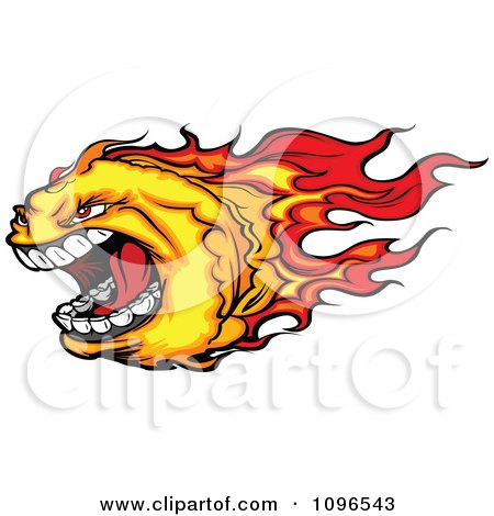Clipart Screaming Fire Ball Mascot - Royalty Free Vector Illustration by Chromaco