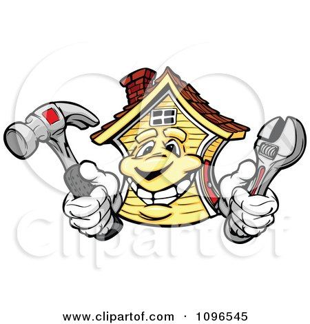 Clipart House Mascot Holding Repair Tools - Royalty Free Vector Illustration by Chromaco