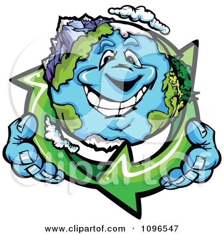 Clipart Happy Earth Holding Recycle Arrows - Royalty Free Vector Illustration by Chromaco