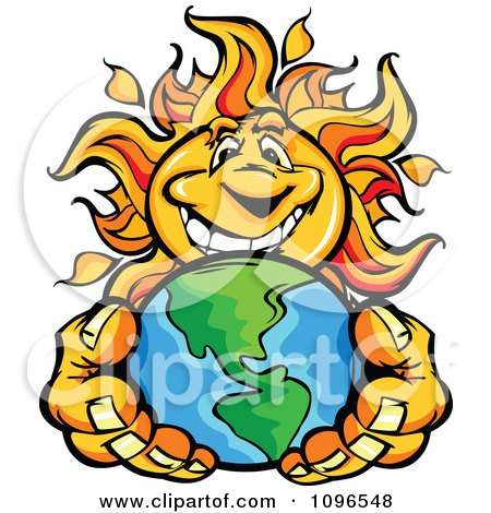 Clipart Happy Sun Mascot Holding Out Earth - Royalty Free Vector Illustration by Chromaco