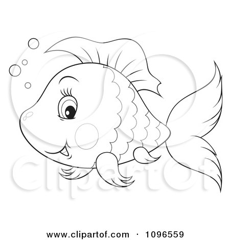 Clipart Happy Black And White Fish - Royalty Free Illustration by Alex Bannykh