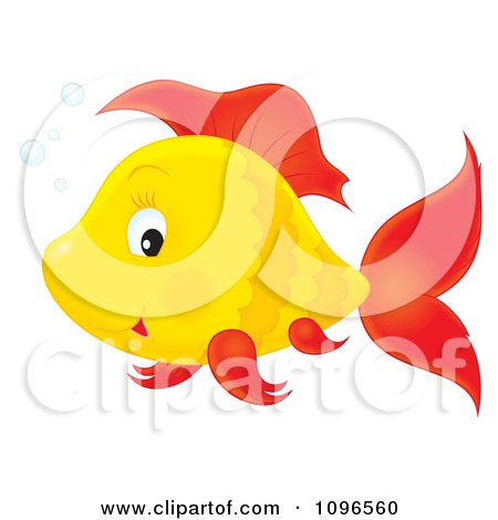 Clipart Happy Orange And Red Fish - Royalty Free Illustration by Alex Bannykh