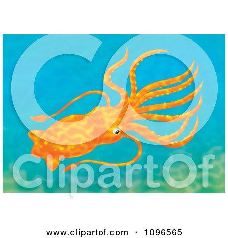 Clipart Orange Squid In Ocean Water - Royalty Free Illustration by Alex Bannykh