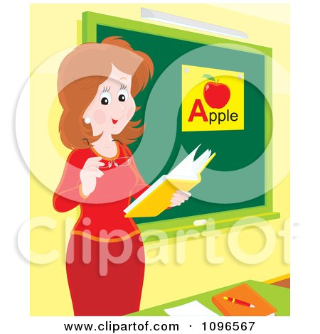 Clipart Friendly Female Teacher Discussing The Alphabet In Class - Royalty Free Vector Illustration by Alex Bannykh