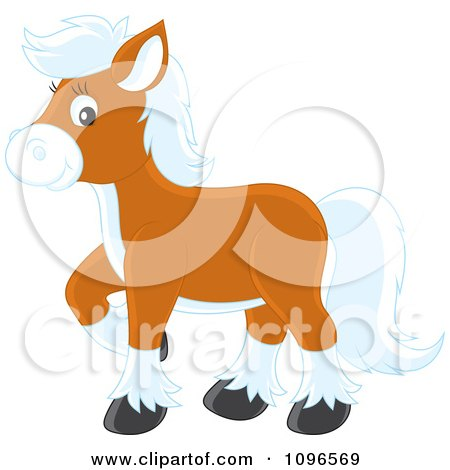 Clipart Brown Pony With White Hair - Royalty Free Vector Illustration by Alex Bannykh