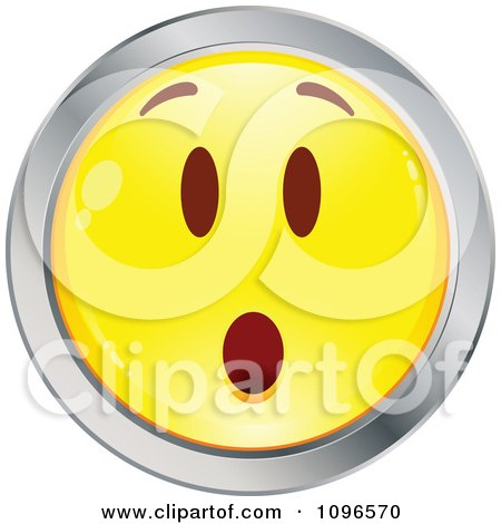 Clipart Surprised Yellow And Chrome Cartoon Smiley Emoticon Face 8 - Royalty Free Vector Illustration by beboy