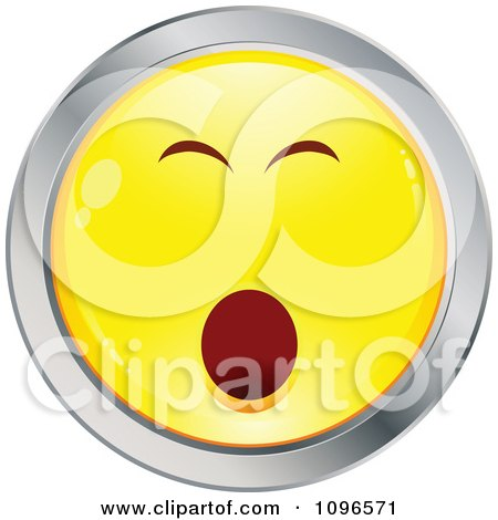 Clipart Bored Yawning Yellow And Chrome Cartoon Smiley Emoticon Face - Royalty Free Vector Illustration by beboy