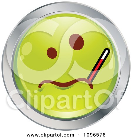 Clipart Sick Green And Chrome Cartoon Smiley Emoticon Face With A Thermometer - Royalty Free Vector Illustration by beboy