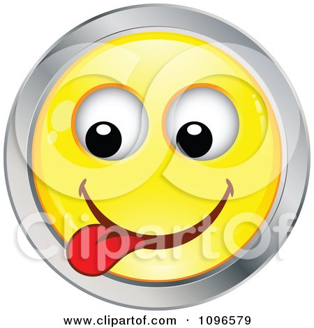 Clipart Yellow And Chrome Goofy Cartoon Smiley Emoticon Face 9 - Royalty Free Vector Illustration by beboy