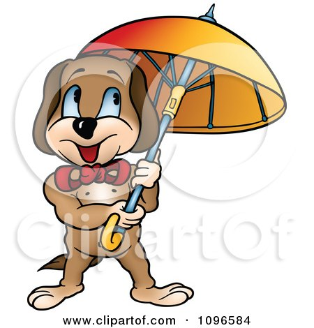 Clipart Happy Dog Standing Under An Umbrella - Royalty Free Vector Illustration by dero